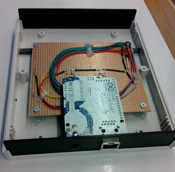 Board and Arduino in the enclosure